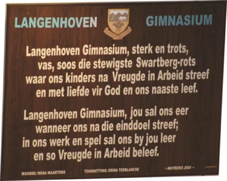 Langenhoven Gimnasium : Skoollied